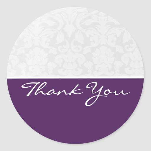 El boda púrpura y blanco del vintage le agradece pegatina redonda