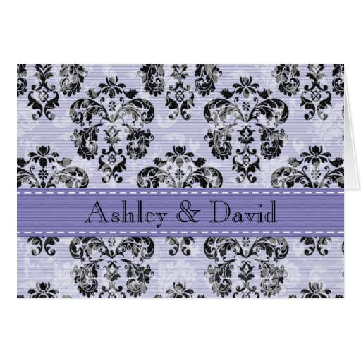 El boda púrpura y negro del damasco le agradece la tarjetas