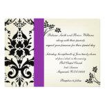 El boda púrpura y negro elegante del damasco invit comunicados personales