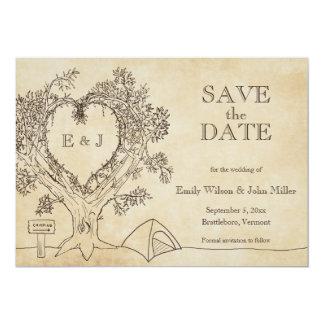 El boda que acampa ahorra las invitaciones de la invitación 12,7 x 17,8 cm