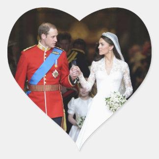 El boda real 8 pegatina en forma de corazón