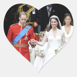 El boda real 9 pegatina en forma de corazón