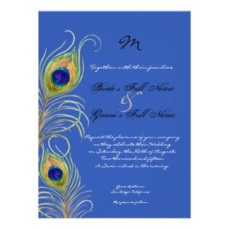 El boda real del azul de cobalto de las plumas del invitaciones personales