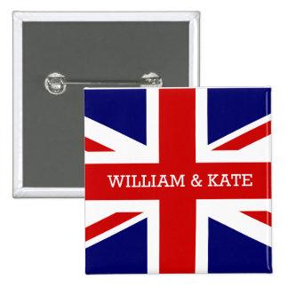 El boda real - Guillermo y Kate Pin Cuadrada 5 Cm