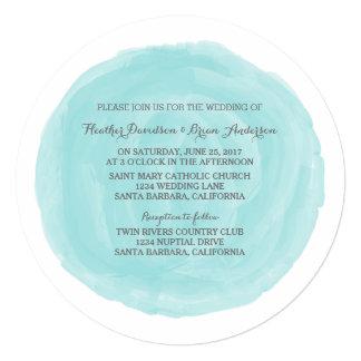"""El boda redondo de la acuarela de la turquesa invitación 5.25"""" x 5.25"""""""