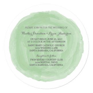 """El boda redondo verde de la acuarela invita invitación 5.25"""" x 5.25"""""""