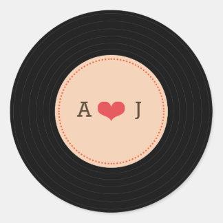 El boda retro moderno del disco de vinilo se pegatina redonda