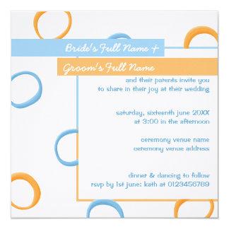 El boda retro pintado del azul 4 de los círculos invitación 13,3 cm x 13,3cm