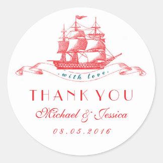 El boda rojo blanco de la nave del vintage le pegatina redonda