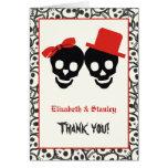 El boda rojo de Halloween de los cráneos elegantes Tarjeta Pequeña