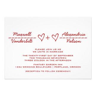 El boda rojo de la ecuación del corazón invita comunicados