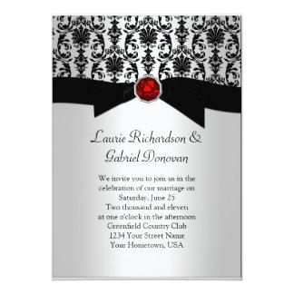 """El boda rojo de la joya del damasco negro y de invitación 5"""" x 7"""""""