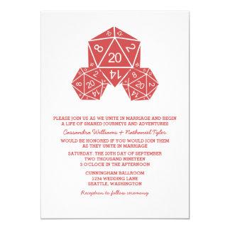 """El boda rojo de los dados D20 invita Invitación 5"""" X 7"""""""