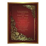 """el"""" boda rojo de oro de lujo del damasco 6.5x8.75 invitación 16,5 x 22,2 cm"""