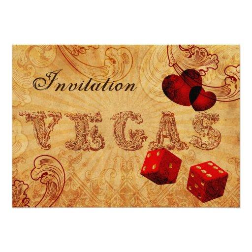 el boda rojo de Vegas del vintage de los dados inv Comunicados Personalizados