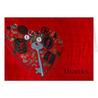 El boda rojo del corazón de Steampunk le agradece