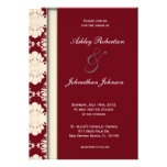 El boda rojo del damasco del vintage invita invitacion personal