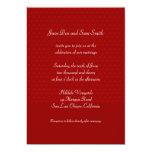 El boda rojo del modelo invita invitación 12,7 x 17,8 cm