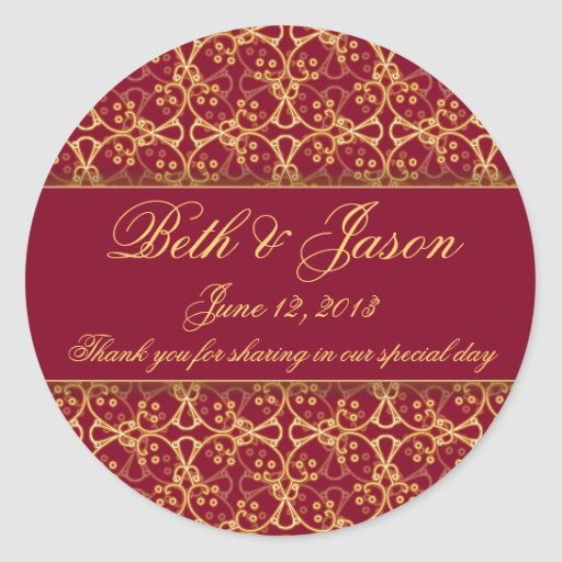 El boda rojo del racimo de la baya le agradece los etiquetas redondas