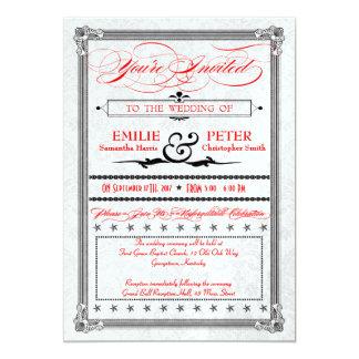El boda rojo, negro y de plata metálico del invitación 12,7 x 17,8 cm