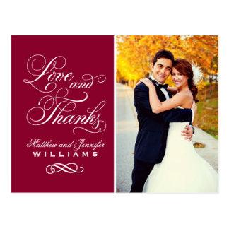 El boda rojo oscuro del amor y de las gracias el | tarjetas postales