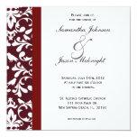 El boda rojo oscuro del damasco invita invitación 13,3 cm x 13,3cm