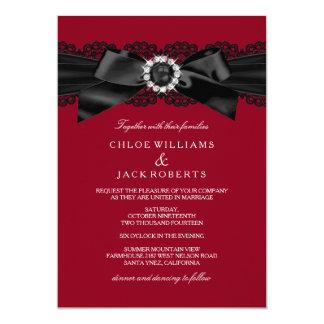 """El boda rojo y negro de Borgoña de la perla del Invitación 5"""" X 7"""""""