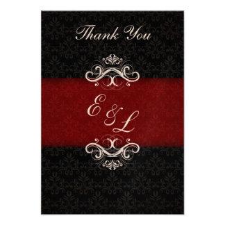 El boda rojo y negro del invierno le agradece obse invitación