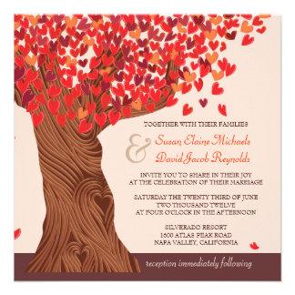 El boda romántico del roble del amor del otoño inv