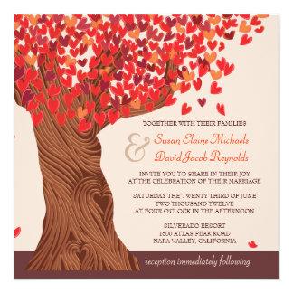 """El boda romántico del roble del amor del otoño invitación 5.25"""" x 5.25"""""""