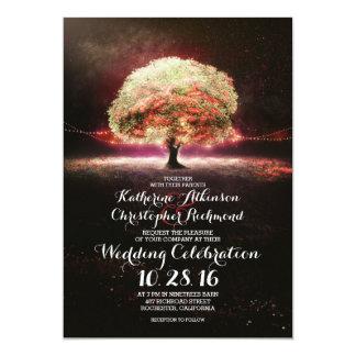 """el boda romántico del rosa del árbol de las luces invitación 5"""" x 7"""""""