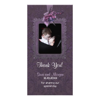 El boda romántico oscuro le agradece tarjeta fotográfica personalizada