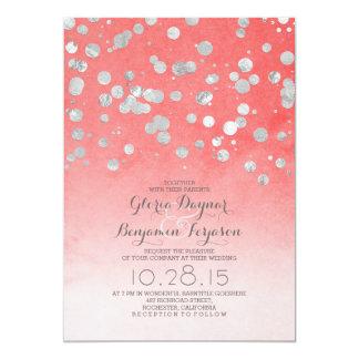 """el boda rosado coralino del confeti de plata del invitación 5"""" x 7"""""""