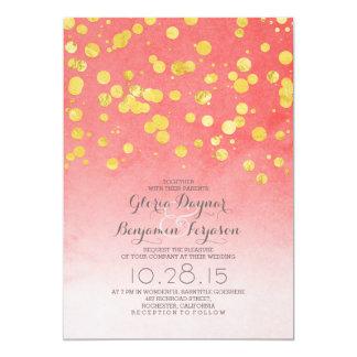 """El boda rosado coralino del confeti del brillo del invitación 5"""" x 7"""""""