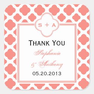 El boda rosado coralino del modelo de Quatrefoil Pegatina Cuadrada