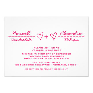 El boda rosado de la ecuación del corazón invita comunicado