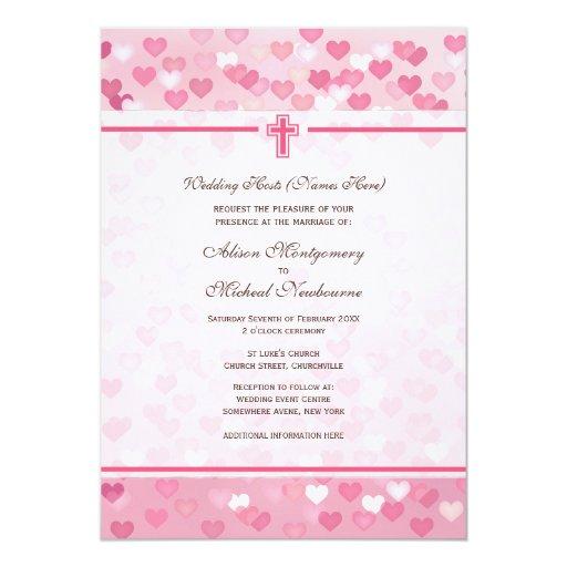 """El boda rosado de la iglesia cristiana de los invitación 5"""" x 7"""""""