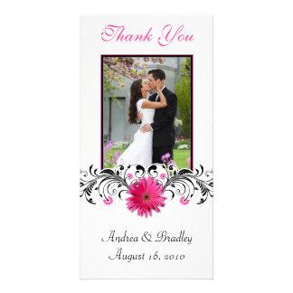 El boda rosado de la margarita del Gerbera le agra Plantilla Para Tarjeta De Foto