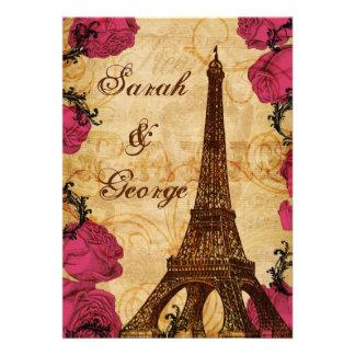 El boda rosado de París de la torre Eiffel del vin Anuncios Personalizados