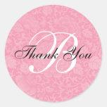 El boda rosado del brocado le agradece etiqueta redonda