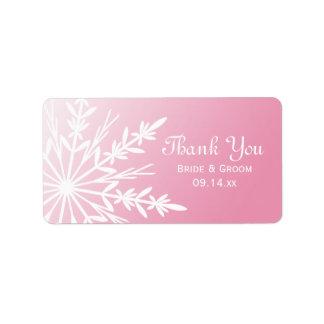 El boda rosado del copo de nieve le agradece etiqu etiquetas de dirección