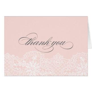 El boda rosado del cordón del ballet le agradece tarjetón