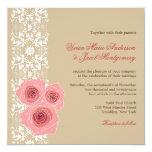 el boda rosado del cordón del damasco de los rosas comunicados personales