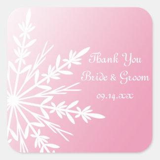 El boda rosado del invierno del copo de nieve le pegatina cuadrada