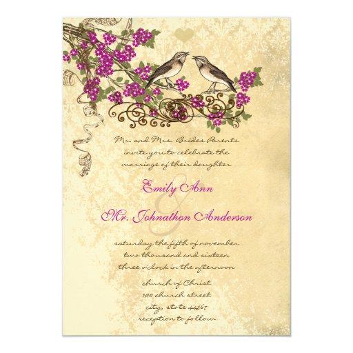El boda rosado del pájaro del vintage de la flor invitación 12,7 x 17,8 cm