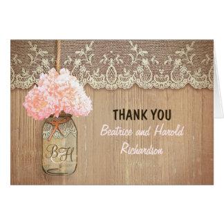 El boda rosado elegante del tarro de albañil del h felicitacion