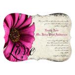 El boda rosado fucsia de la margarita de Gerber Invitación 12,7 X 17,8 Cm