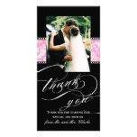 El boda rosado negro del damasco le agradece tarje tarjetas con fotos personalizadas