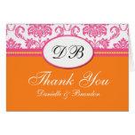 El boda rosado y anaranjado le agradece felicitacion