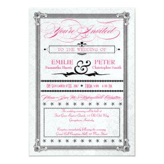 El boda rosado y negro metálico y RSVP del damasco Invitación 12,7 X 17,8 Cm